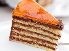 Венгерский шоколадный торт Добош с тонкими коржами из генуэзского бисквита