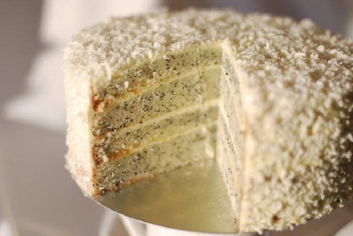 Торт с маком, лучший маковый бисквит с белым шоколадом