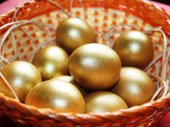 Как сделать золотые яйца на Пасху, которые можно есть