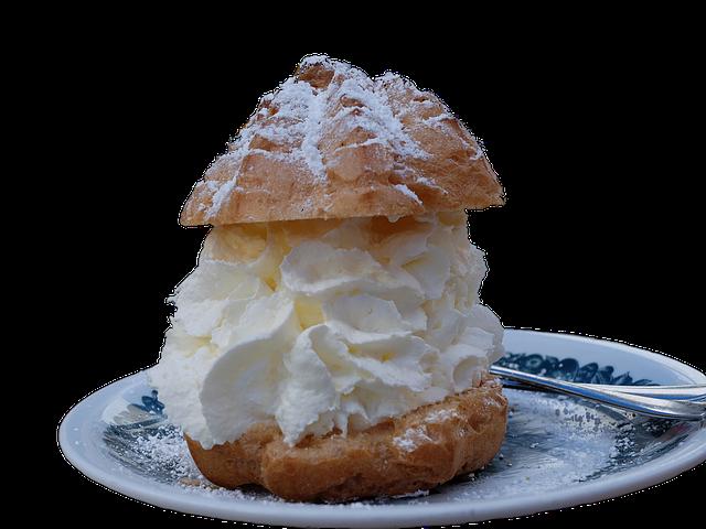 пирожное шу с кремом из сливок 33 процента